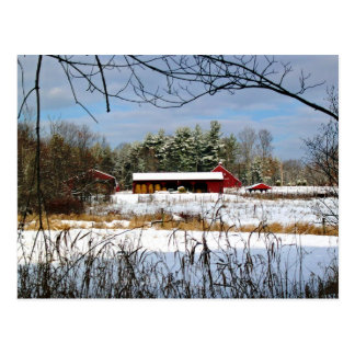 Red Barn in Winter, Scenic Landscape Postcard