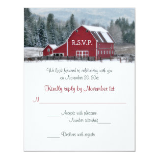 Red Barn in Winter Wedding RSVP Card
