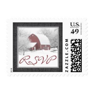 Red Barn in Winter Wedding RSVP Postage