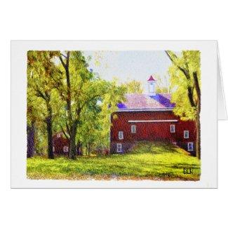 Red Barn/Landscape/Watercolor Look