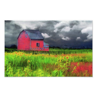 Red barn, nature photography, country home decor photo print