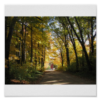 Red Barn on an Autumn Country Road Print