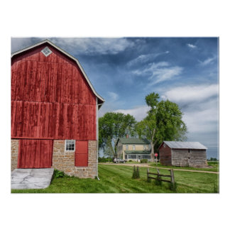Red Barn on Farm with Blue Sky Poster