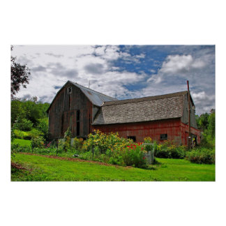 Red Barn on Sunny Summer Day Poster