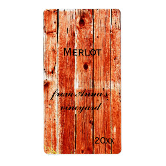 red barn painted planks wine bottle label shipping label