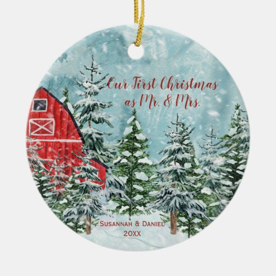 Red Barn Pine Trees Snow Our First Christmas Photo Ceramic Ornament