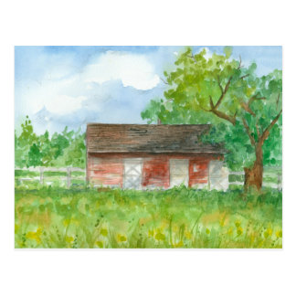 Red Barn Postcard Watercolor Country Landscape Art