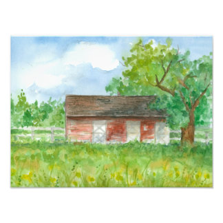 Red Barn Print Grass Pasture Country Landscape Photo