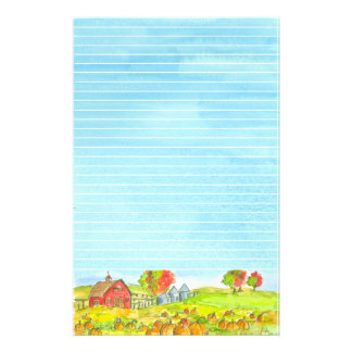 Red Barn Pumpkin Patch Lined Stationery