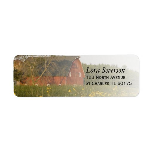 Red Barn Return Address Label