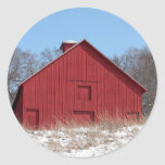 Red barn round sticker
