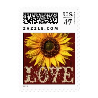 Red Barn Rustic Sunflower Love Postage Stamp