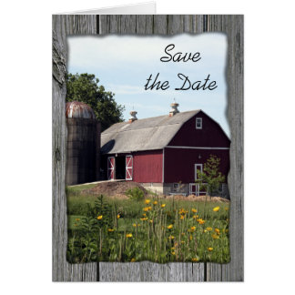 Red Barn Save the Date Wedding Announcement Card