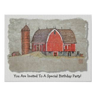 Red Barn & Silo Card