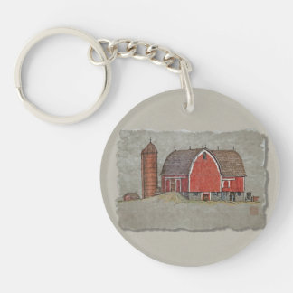 Red Barn & Silo Keychain