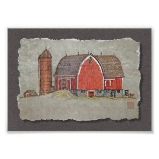 Red Barn & Silo Photo Print