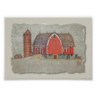 Red Barn & Silo Photographic Print
