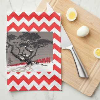Red Barn Silo Snow Covered Black Trees Kitchen Towels
