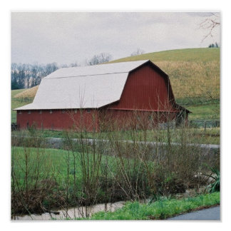 Red Barn Silver roof Poster