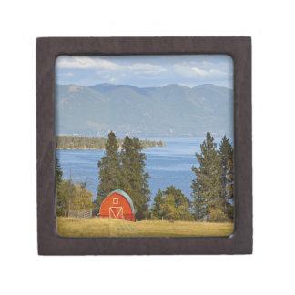 Red barn sits along scenic Flathead Lake near Keepsake Box