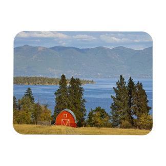 Red barn sits along scenic Flathead Lake near Magnet
