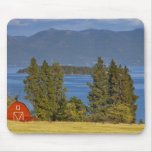 Red barn sits along scenic Flathead Lake near Mouse Pad