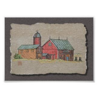 Red Barn & Two Buggies Art Photo