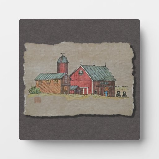 Red Barn & Two Buggies Display Plaques