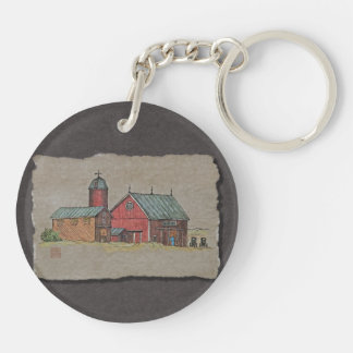 Red Barn & Two Buggies Keychain