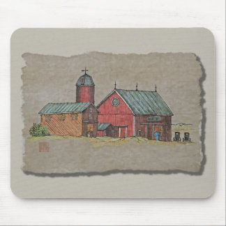 Red Barn & Two Buggies Mouse Pad