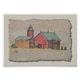Red Barn & Two Buggies Photo Art