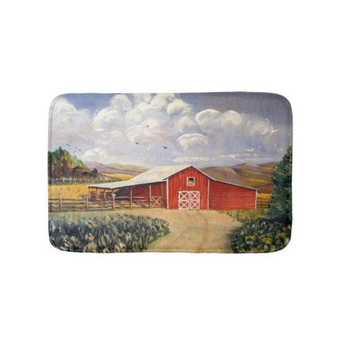 Red Barn West Virginia Farm Fine Art Painting Bathroom Mat