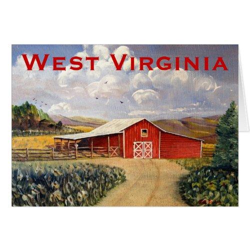 Red Barn West Virginia Farm Fine Art Painting Card