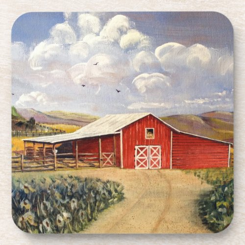 Red Barn West Virginia Farm Fine Art Painting Drink Coaster