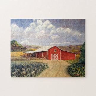 Red Barn West Virginia Farm Fine Art Painting Jigsaw Puzzle