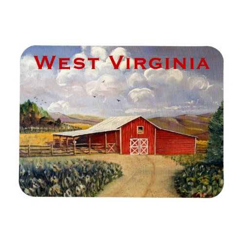 Red Barn West Virginia Farm Fine Art Painting Magnet