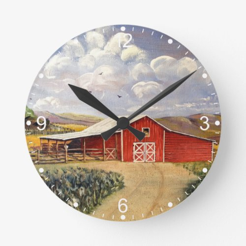 Red Barn West Virginia Farm Fine Art Painting Round Clock