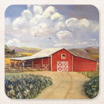 Red Barn West Virginia Farm Fine Art Painting Square Paper Coaster