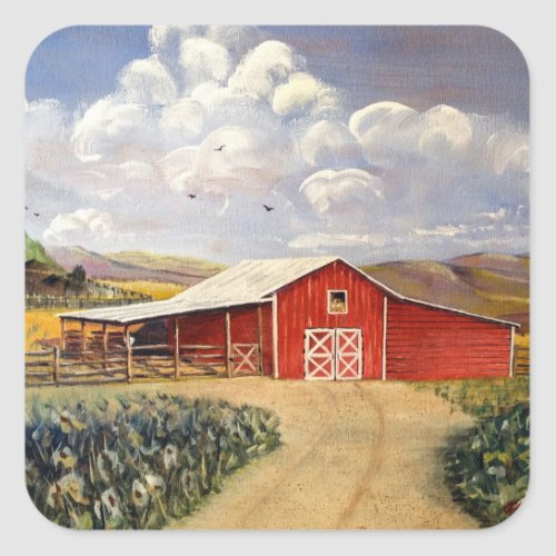 Red Barn West Virginia Farm Fine Art Painting Square Sticker