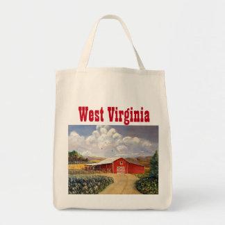 Red Barn West Virginia Farm Fine Art Painting Tote Bag