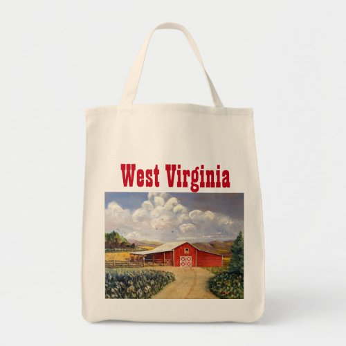Red Barn West Virginia Farm Fine Art Painting Tote Bag