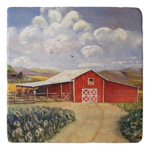 Red Barn West Virginia Farm Fine Art Painting Trivet