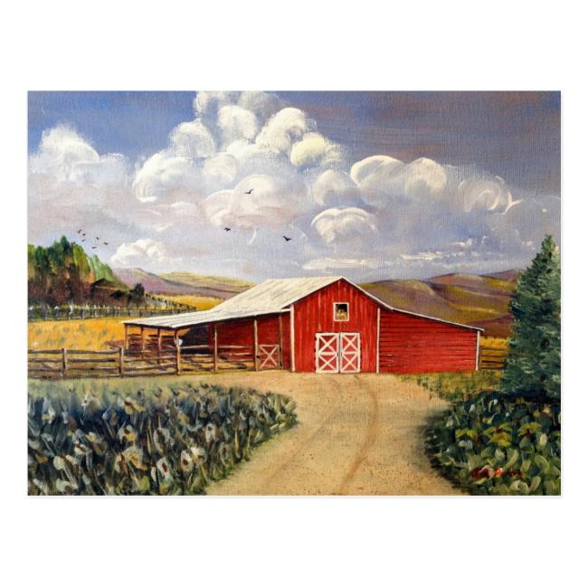 Red Barn West Virginia Farm Postcard
