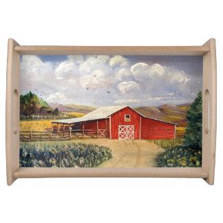Red Barn West Virginia Farm Serving Tray