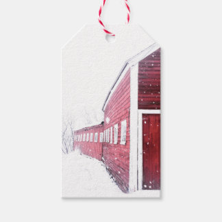 Red Barn White Snow Gift Tag