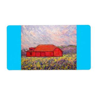 red barn wildflowers art label
