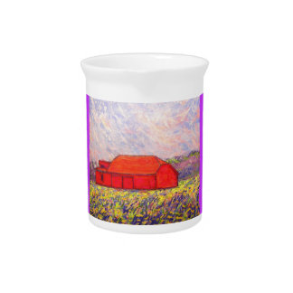red barn wildflowers art pitcher