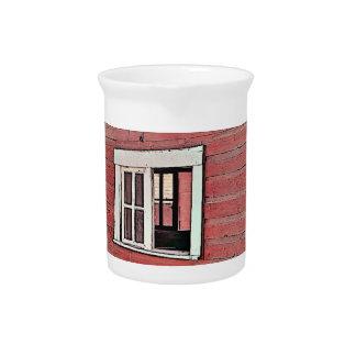 Red Barn Window Beverage Pitcher