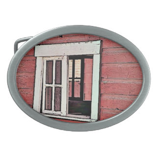 Red Barn Window Oval Belt Buckle