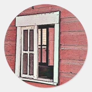 Red Barn Window Classic Round Sticker
